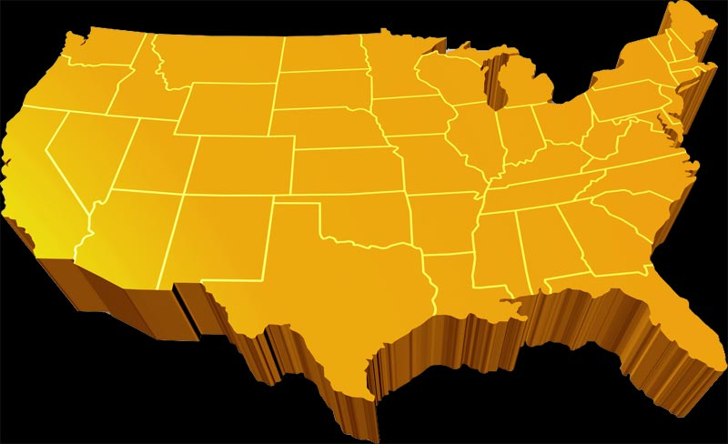 US Map of the Lower 48 States